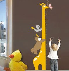 Adorable Giraffe Growth Height Chart Wall Decal Sticker for Childrens room. Watch your child grow day by day or week by week with this durable