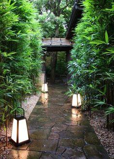 Stone path and lanterns