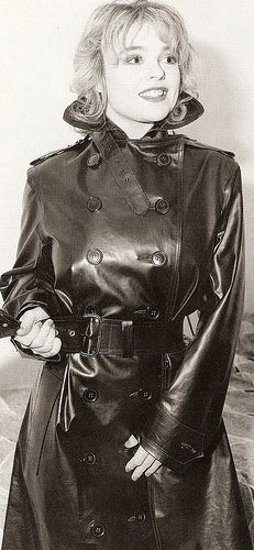 Vintage Black Rubber Raincoat - an all-time classic smile in an all-time classic raincoat - sweet memories!