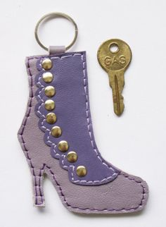 Victorian ButtonUp Boot Leather Keychain Fob in by CravottoDesigns
