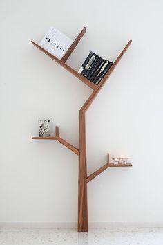 Creative Tree Bookshelf Designs Offering Natural Look : Minimalist SpaceSaving Solid Wood Tree Shaped Bookshelf Design Inspiration in White Themed Home Interior Design Unique Bookshelves, Modern Bookcase, Simple Bookshelf, Black Bookshelf, Bookcases, Tree Bookshelf, Bookshelf Design, Bookshelf Ideas, Tree Shelf