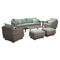 Cannes 8-Piece Wicker Patio Conversation Furniture Set - Blue