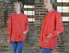 Vintage Modern Mayan Red Cotton Bohemian Embroidered Guatemalan Souvenir Jacket Blouse