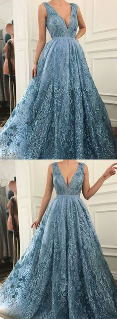 Blue v neck lace long prom dress, blue evening dress
