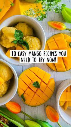Easy Mango Recipes, Summer Recipes, Indian Snacks, Indian Food Recipes, Mango Collection, Coconut Chutney, Mango Salsa, Nice Cream, Custard