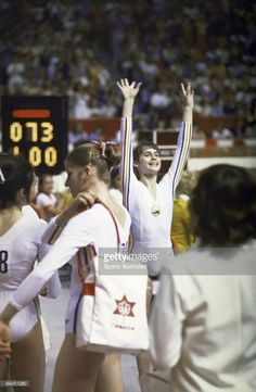 Romania Nadia Comaneci victorious at Montreal Forum. Montreal, Canada…