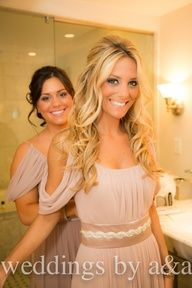 This website is for wedding hair and makeup, but I'm repinning because I LOVE THOSE BRIDESMAIDS DRESSES! They are perfect for the Grecian theme I'm dreaming of.