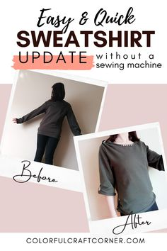 Learn a simple and fast way to transform a basic sweatshirt without a sewing machine. This is the perfect 30 minutes (or less) clothes refashion you should try! You can skip sewing altogether. An easy sweatshirt alteration for a weekend afternoon. #sweatshirt #alteration #refashion #nosew #easy #quick Clothes Refashion, New Outfits, Hand Stitching, Thrifting, Sewing, Sweatshirts, Simple, Easy, Dressmaking