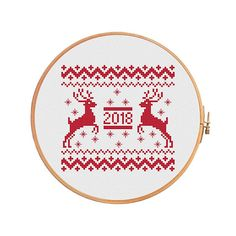 Deer 2018 cross stitch pattern Scandinavian merry