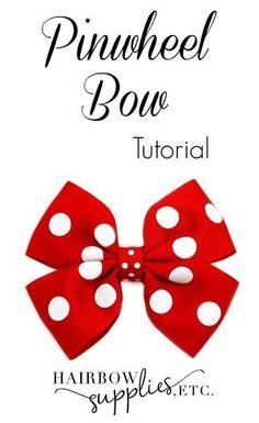How to Make a Pinwheel Hair Bow tutorial! This simple diy tutorial explains how to make a hair bow using 1-1/2 inch ribbon and 3/8 inch ribbon.