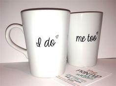"Latte mug ""I do & Me too"" mug perfect couple gift wedding gift, housewarming Gift special mug set. $36.00, via Etsy."