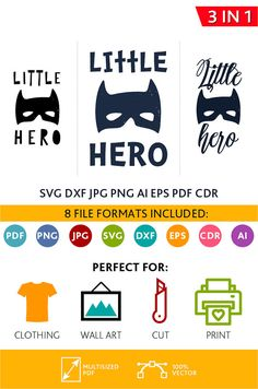 Little Hero SVG Cut Files Wall Art Quote Printable Art Decor Bedroom Living room Art Printable Poster (Svg Dxf Cdr Eps Ai Jpg Pdf Png)