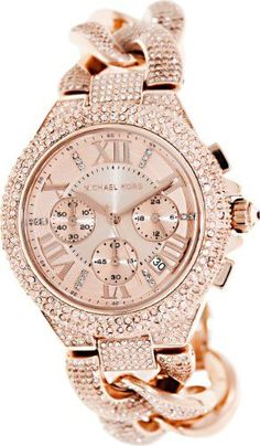 Michael Kors MK3196 reese chronograph rose gold dial rose gold glitz chain link bracelet women watch NEW #MichaelKors