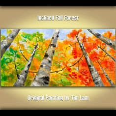 Abstract Painting Looking Up Forest huge mural Original by elseart, $319.00