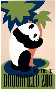 This poster by WPA artist Frank W. Long is an advertisement for the Brookfield Zoo. Created between 1936 and 1938 as part of the Federal Art Project in Illinois.