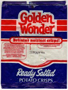 Golden Wonder Ready Salted Crisps From 1980s Childhood, My Childhood Memories, Sweet Memories, Vintage Sweets, Retro Sweets, 70s Sweets, Retro Food, Vintage Toys, Golden Wonder Crisps