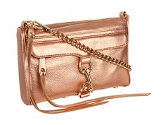 metallic rose gold cross body bag by Rebecca Minkoff {goes with everything}