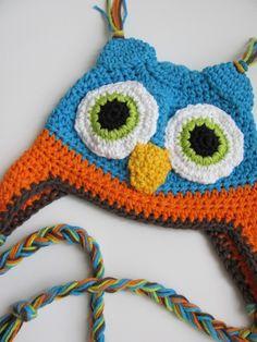 Hot Blue, Orange Owl Earflap Hat - Great Photography Prop