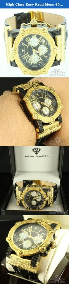 High Class Easy Read Mens 45MM Aqua Master Gold & Black Iced Bling Leather Watch. PRESENTING MENS AQUA MASTER PRODUCT WATCH WITH A LAB DIAMOND COVERED PAVE PATTERNED BEZEL OFFSET BY A BLACK TRIPLE DIAL DESIGN AND A GENUINE LEATHER BAND !! Showcasing Japan Quartz Movement, is Water Splash Resistant and has a 14k gold finish base in an impressive, classic, graceful design!! Elegant Complete Iced Out Bezel!!! IF LOOKING FOR A DESIGNER LOOK WITH ELEGANCE, PROMINENCE, AND DECADENCE STOP YOUR...