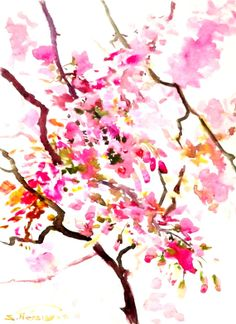 Cherry Blossom Original watercolor painting 15 X by ORIGINALONLY, $38.00