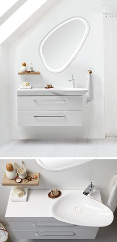 Cadenza washbasin and Solo mirror with LED lighing. A timeless and graceful design which works in any room and perfectly under a sloping wall.