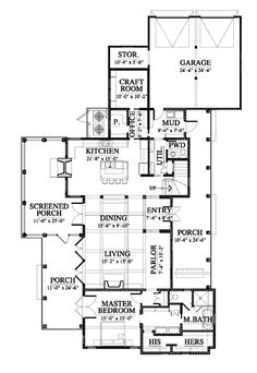 Allison Ramsey Architects | Floorplan for Diane's Farmhouse (variation) - 3294 square foot house plan # 14316