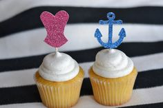 Nautical Bachelorette Party Glitter Cupcake Toppers by Glambanners