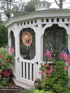 Gazebo decorated for July 4th !  (Garden of Len & Barb Rosen)