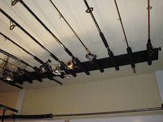 For the home on pinterest for Fishing rod ceiling rack