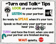 Turn and Talk Tips poster Freebie!
