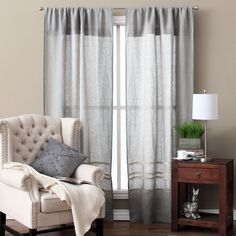 This striped, linen curtain panel is practically perfect for any room setting, regardless of existing decor. Available in a set of two panels, this curtain set will definitely add plenty of style to your home.