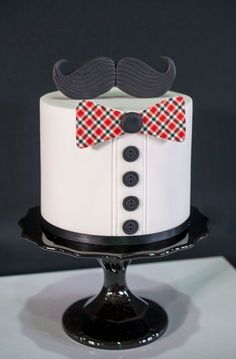 Bow ties and Mustache cake. Cute idea for a grooms cake Baby Cakes, Baby Shower Cakes, Pretty Cakes, Cute Cakes, Beautiful Cakes, Amazing Cakes, Birthday Cakes For Men, Cakes For Boys, Cake Birthday