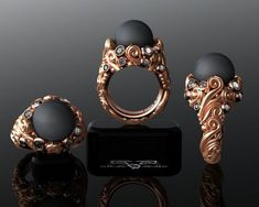 Tahitian Black Pearl & Diamond Heirloom Baroque Scroll Designer Pearl Ring. Heavy Victorian Vintage Cocktail Rose Gold White Countess