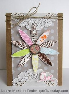 artful notions: Tuesday Trigger: Magical Magnolias - love the combination of kraft, twine, and doilies!