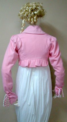 Pink flannel wool falling collar ruffle back