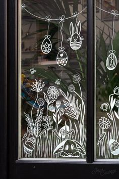 Decoration Creche, Decoration Vitrine, Window Mural, Window Decals, Painted Window Art, Christmas Chalkboard Art, Chalk Wall, Chalkboard Designs, Chalk Drawings