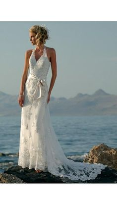 ♥•✿•♥•✿ڿڰۣ•♥•✿•♥ New casual halter over lacewedding dresses with belt for beach wedding! ♥•✿•♥•✿ڿڰۣ•♥•✿•♥