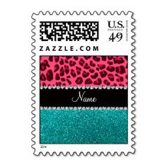 Personalized name pink leopard turquoise glitter postage stamps Yes I can say you are on right site we just collected best shopping store that haveThis Deals          	Personalized name pink leopard turquoise glitter postage stamps Here a great deal...