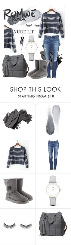 """""""ROMWE"""" by elvisa1108 ❤ liked on Polyvore featuring Bobbi Brown Cosmetics, Clé de Peau Beauté, AG Adriano Goldschmied, UGG, CLUSE and Battington"""