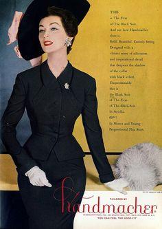 Dovima in Handmacher ad, hat by Irene of New York, Harper's Bazaar, Oct. 1954