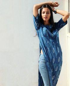 Hand Block Printed Indigo High Slit Maxi Top - Mogra Designs - Fashion Show Indian Attire, Indian Wear, Indian Outfits, Casual Indian Fashion, Boho Fashion, Fashion Outfits, Kurti With Jeans, Kurta Designs Women, Kurti Designs Party Wear