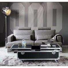 Table basse à roulettes en bois noire L 120 cm