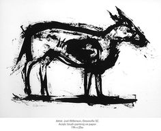 Artist: Joel Wilkinson. Untitled (dog). Size: 19h x 25w. Acrylic brush on paper.