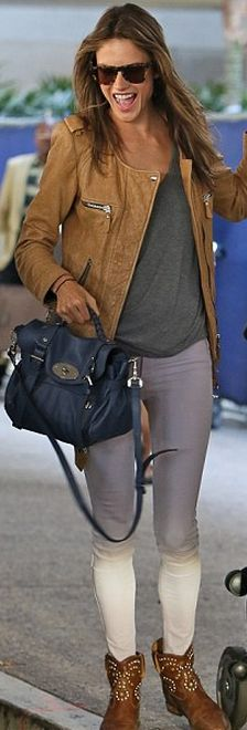 Who made Alessandra Ambrosios blue leather handbag, brown zipper handbag, and studded boots that she wore at LAX airport?