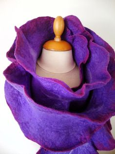 Hand felted scarf purple and fushia merino by GabardineCouture, 75.00