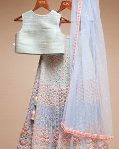Soothing blues with embroidered florals, this beautiful outfit by plays a perfect go-to wear for upcoming weddings. Indian Fashion Dresses, Indian Gowns Dresses, Dress Indian Style, Indian Designer Outfits, Indian Outfits, Fashion Outfits, Designer Party Wear Dresses, Designer Wear, Lehenga Designs
