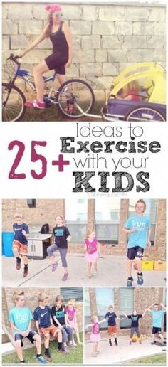 Ideas to Exercise with Kids Ideas for Exercising with your Kids - fun family fitness & exercise! Ideas for Exercising with your Kids - fun family fitness & exercise! Sport Fitness, Fitness Goals, Health Fitness, Fitness Motivation, Women's Fitness, Workout Fitness, Healthy Kids, Get Healthy, Healthy Meals
