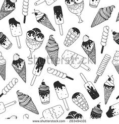 Vector ice cream background, doodle ice cream pattern with cone, scoop, chocolate, sundae and cup. Hand drawn summer illustration