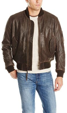 Alpha Industries Men's Leather MA-1 Bomber Jacket, Brown, Medium Best Price