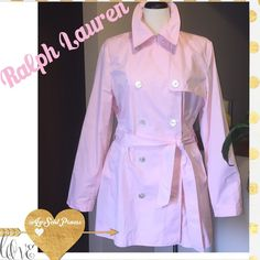 Ralph Lauren Pale Pink 3/4 Trench Coat Pretty in pink! This Ralph Lauren Trench is PERFECT for Spring/Summer! Lightweight and water-protected, it's the perfect coat for those days that require a little extra warmth! Driver's length for ease of entering/exiting vehicle. Rear kick pleat! Versatile: can be buttoned up numerous ways! Ralph Lauren Jackets & Coats Trench Coats